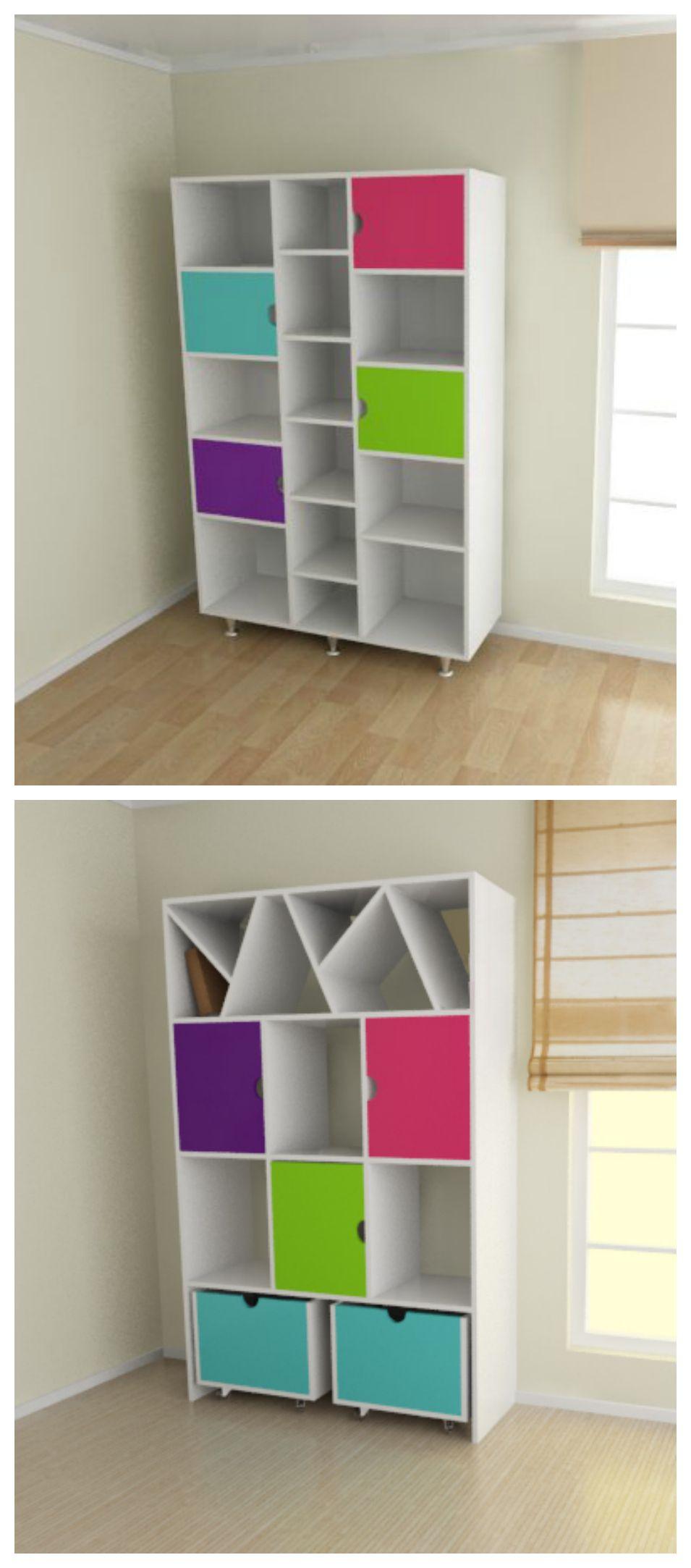 Mueble biblioteca especial para el dormitorio de los ni os for Dormitorios infantiles nino
