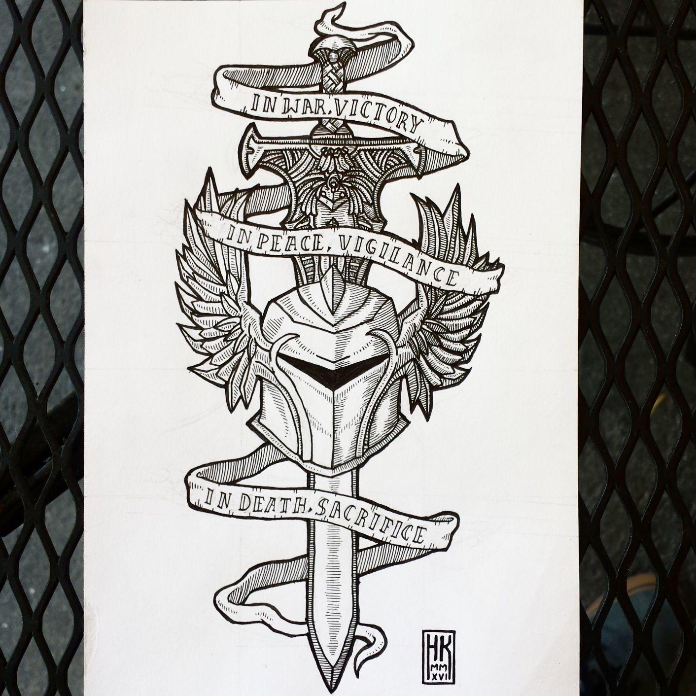 Tatuajes Vieja Escuela designed a grey warden tattoo for a friend!   tatuajes, vieja