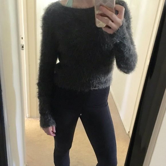 Abercrombie fuzzy cropped sweater Brand new never worn! Super soft cropped fuzzy sweater. Very stretchy. Dark grey color. Abercrombie & Fitch Tops Crop Tops