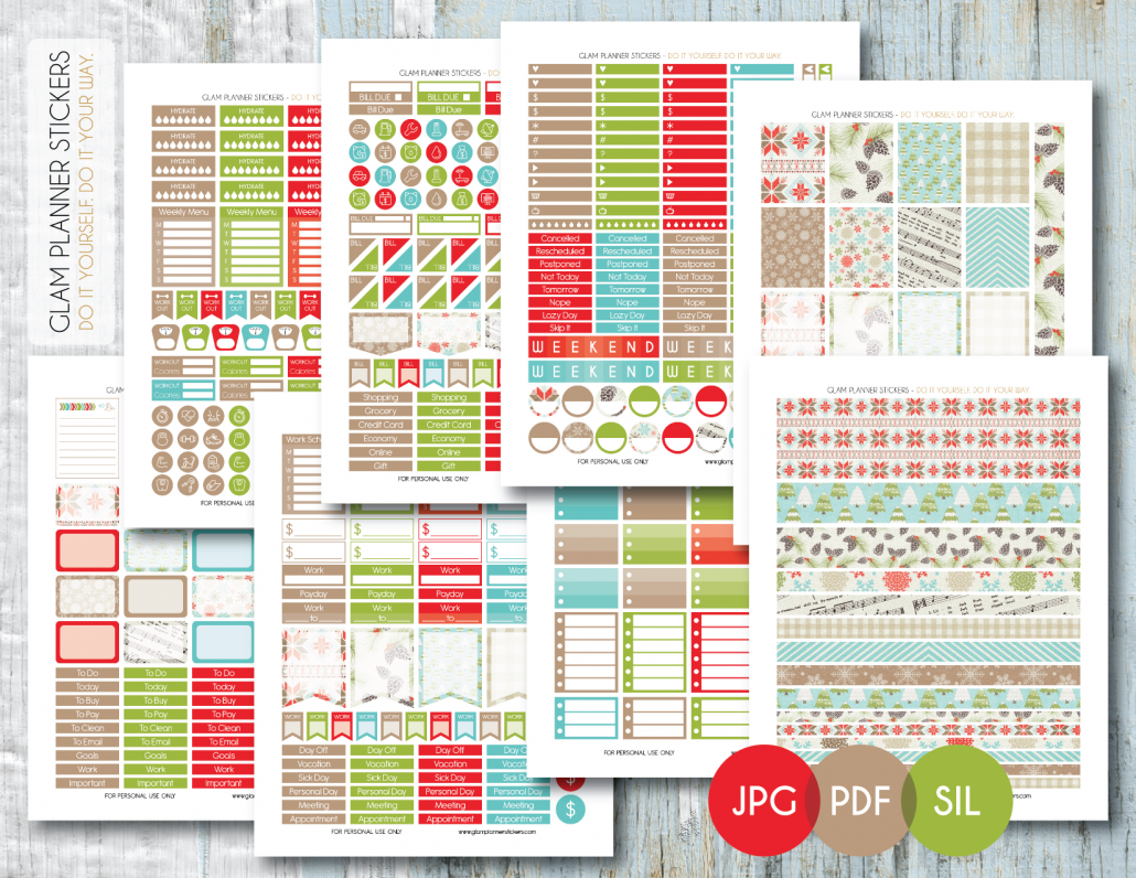 free monthly printable planner stickers set - christmas