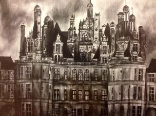 Graphite Drawing of Chateau de Chambord in the Loire Valley