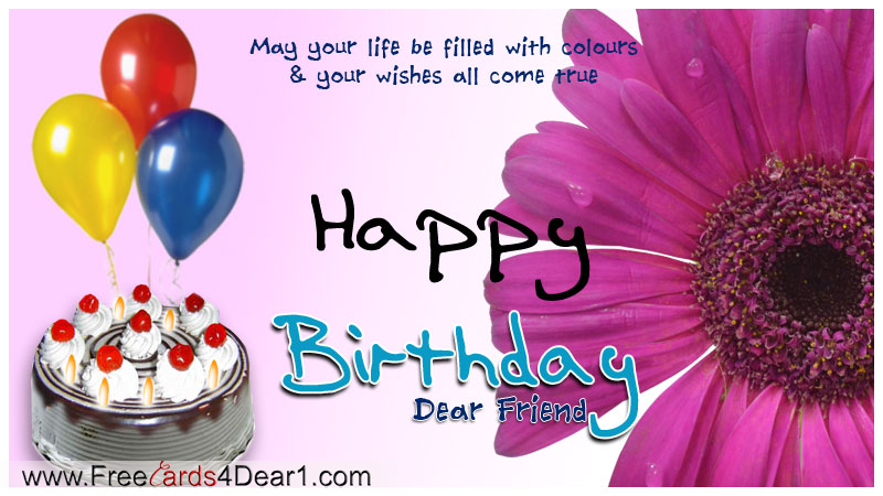 Birthday Wishes Card ~ Happy birthday greeting card for a friend with ballons cake