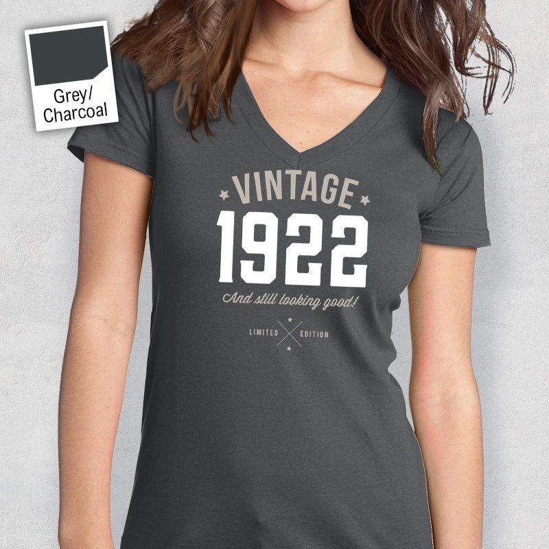 95th Birthday Womens V Neck Idea Present Or Gift 1922 For The Lucky 95 Year Old