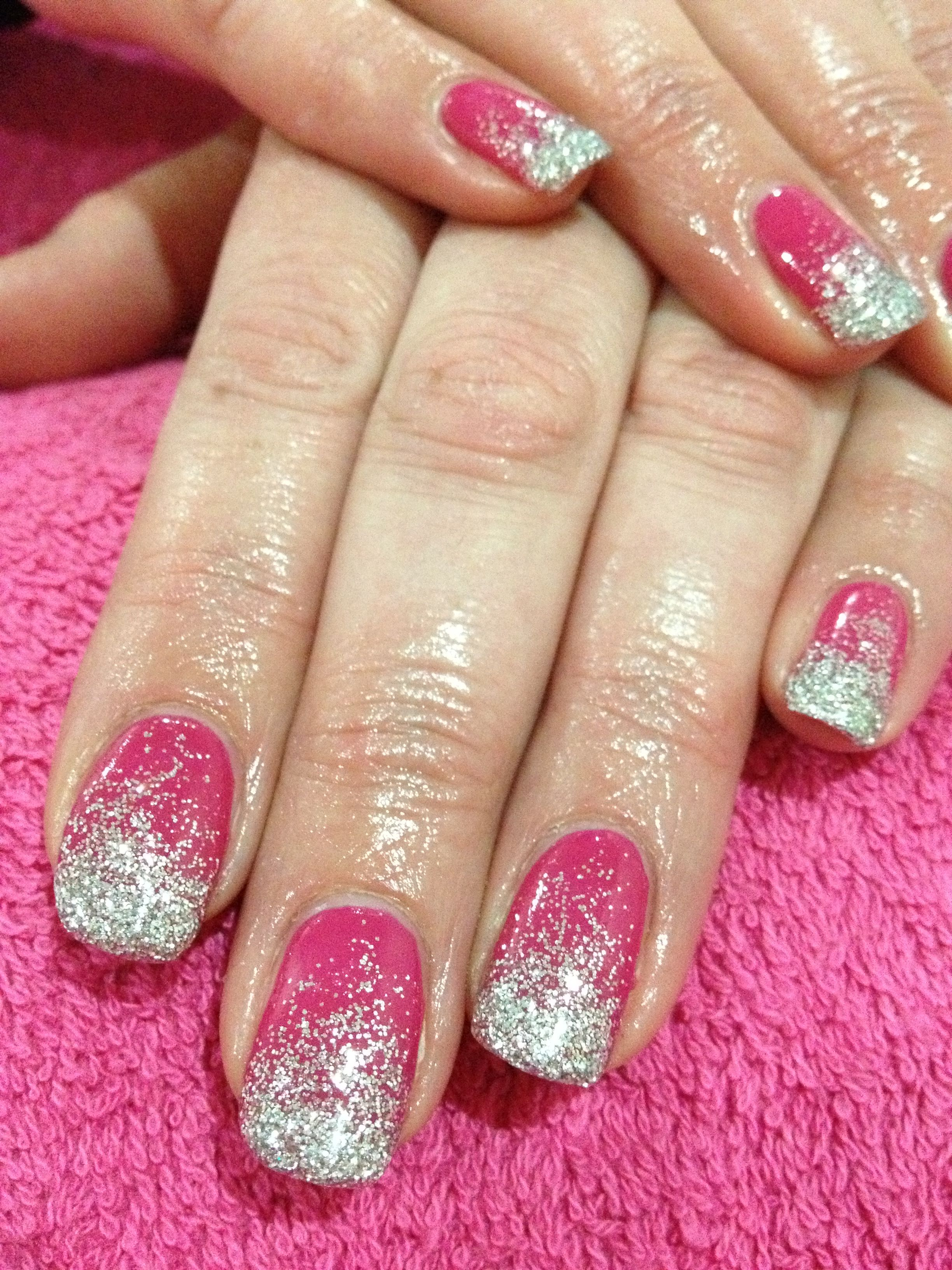 Pink And Silver Glitter Gel Nails Glitter Gel Nails Glitter Gel Gel Nails