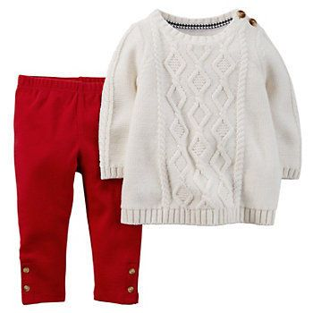 Carters Big Girls Cable Knit Sweater Leggings gray