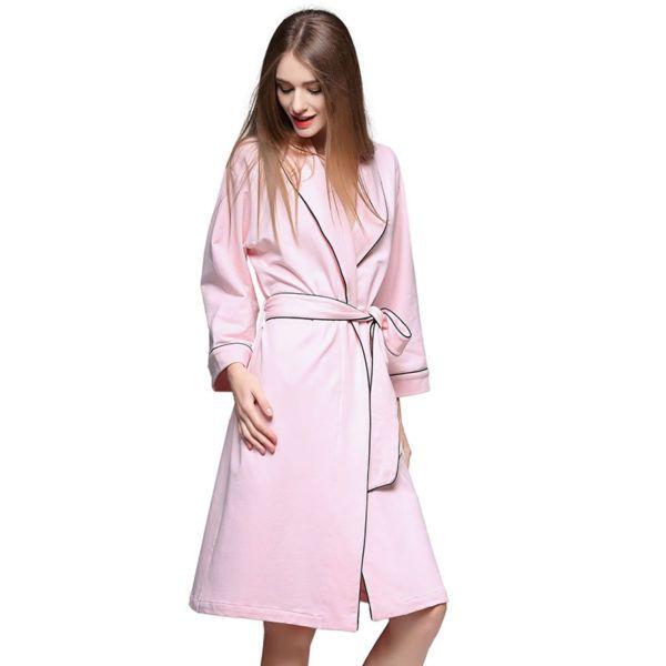 Peignoir coton rose pour femme