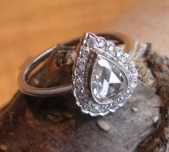 Platinum Rose Cut Diamond Engagement Ring  Diamond by GrowGallery, $2998.00