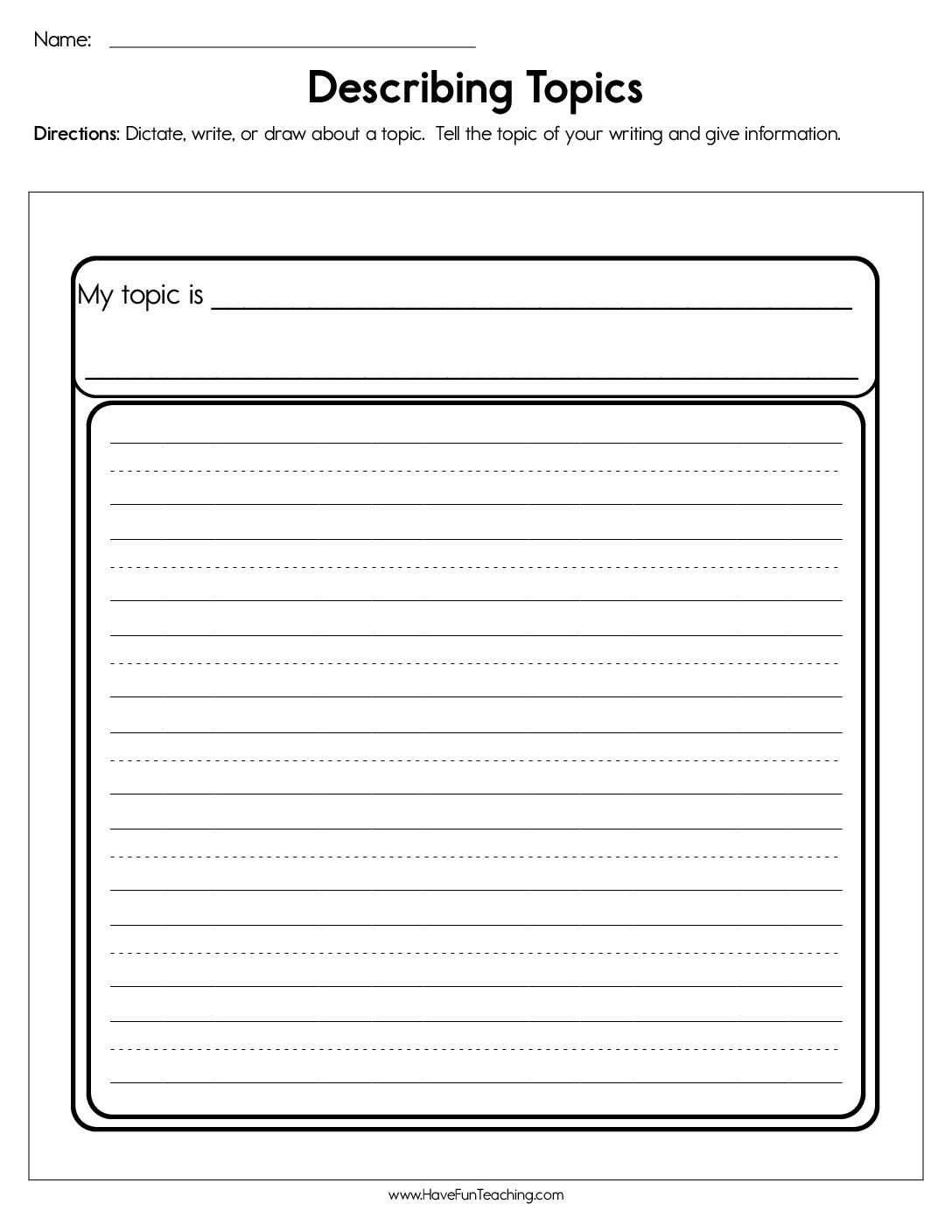 Writing Worksheets Image By Have Fun Teaching On Writing