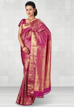 05c48460a9b37 Rani Pink and Gold Pure Kanchipuram Handloom Silk Saree With Blouse ...