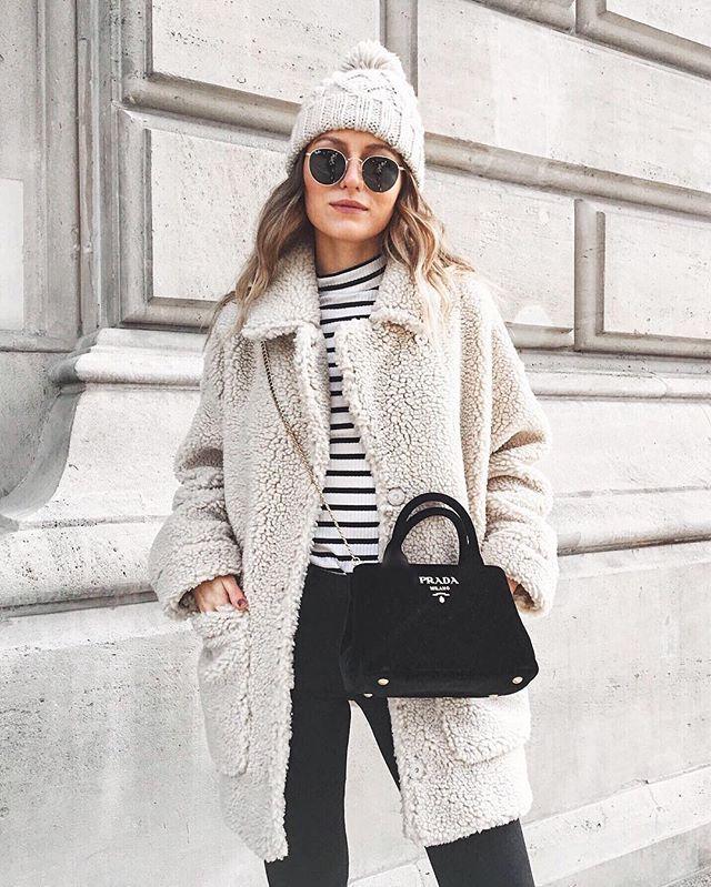 Monki teddy coat, Prada velvet bag, outfit, Livia Auer | f ...