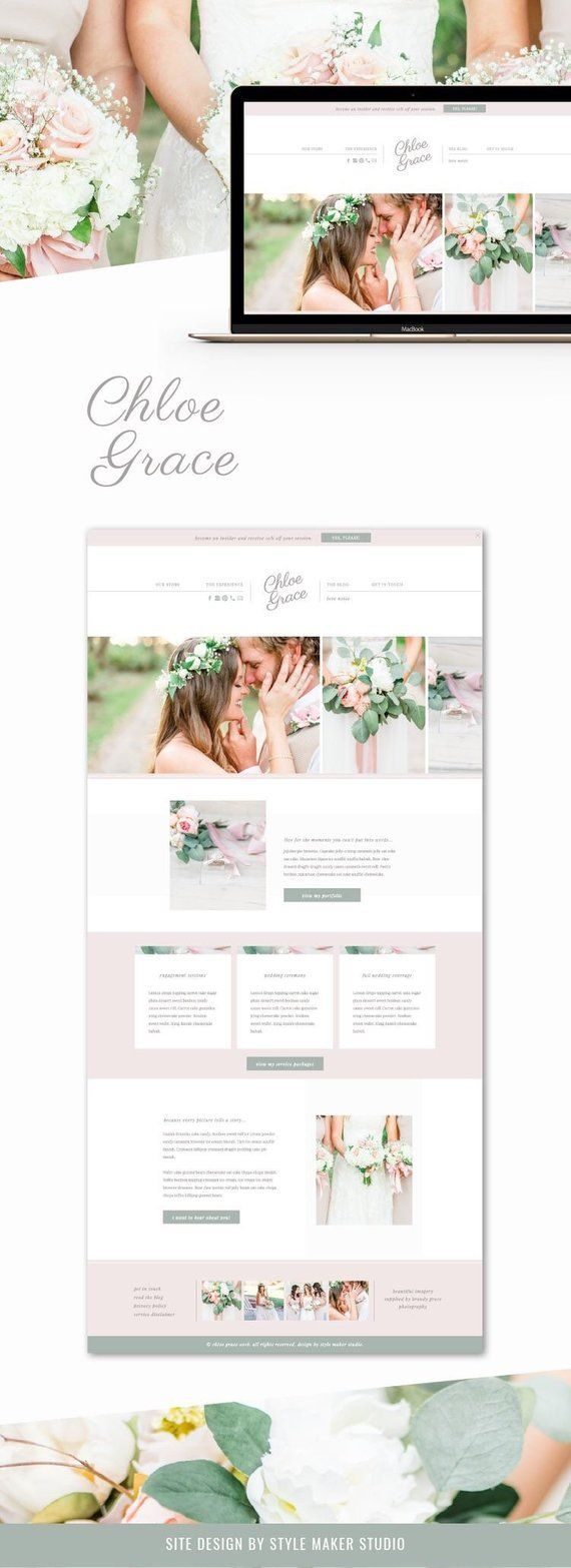 Feminine Website Template For Wedding Planners Bloggers And