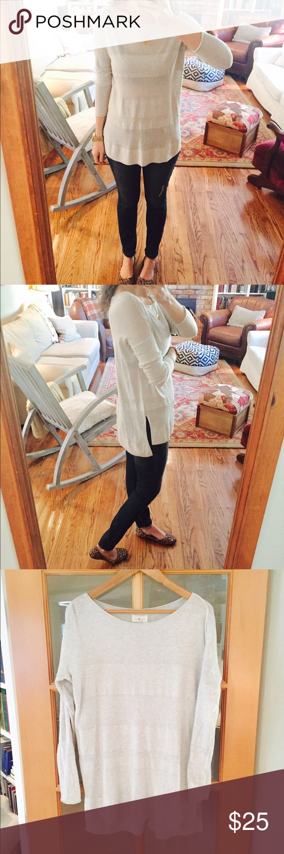 Lou & Grey tunic sweater Light gray with subtle striping. Boatneck. Hi-low hem. Barely worn. From Winter 2016 line. Lou & Grey Sweaters