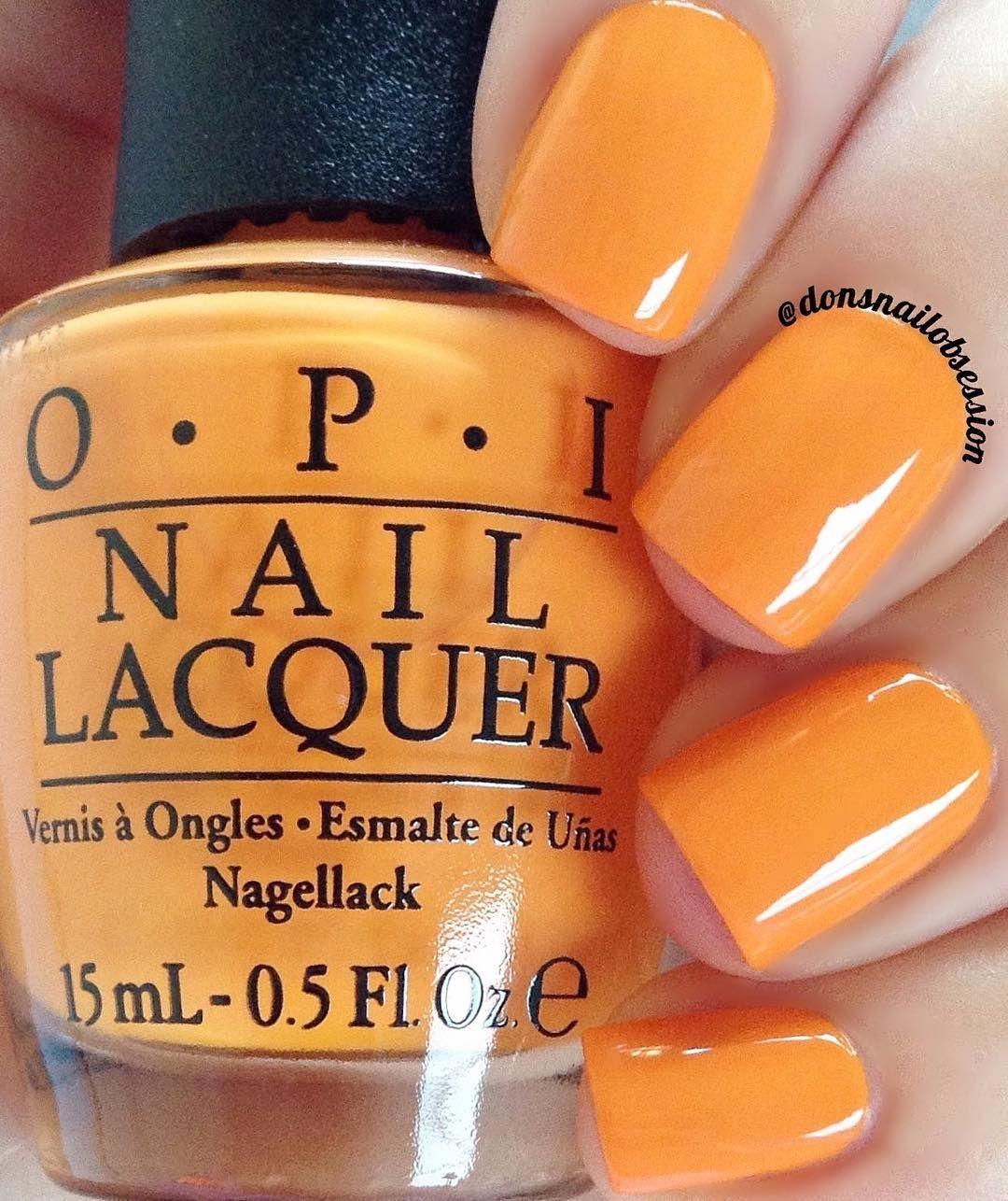 """Opi """"No Tan Lines"""" A Bright Tangerine Orange Nail Shade"""