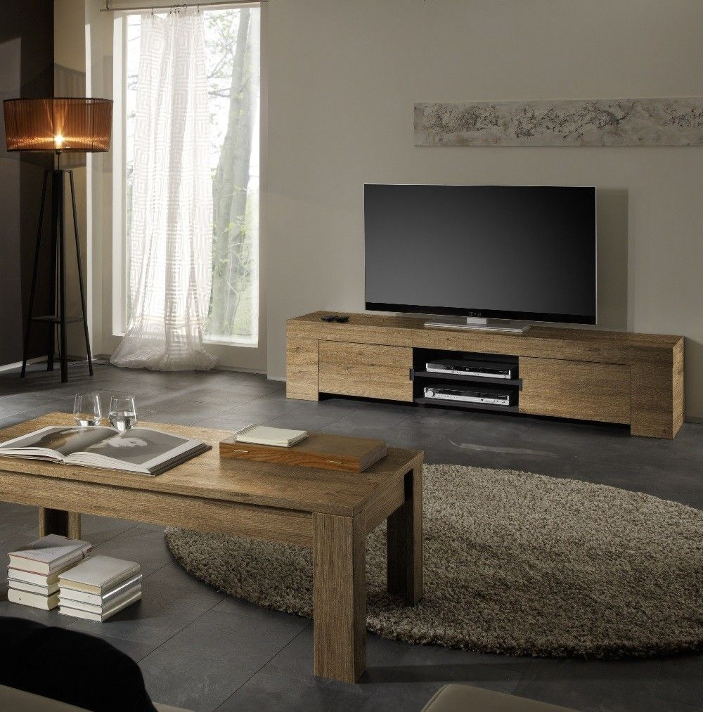 Practical Tv Unit With An All Over Honey Wood Decor Finish That  # Meuble Tv Zaiken