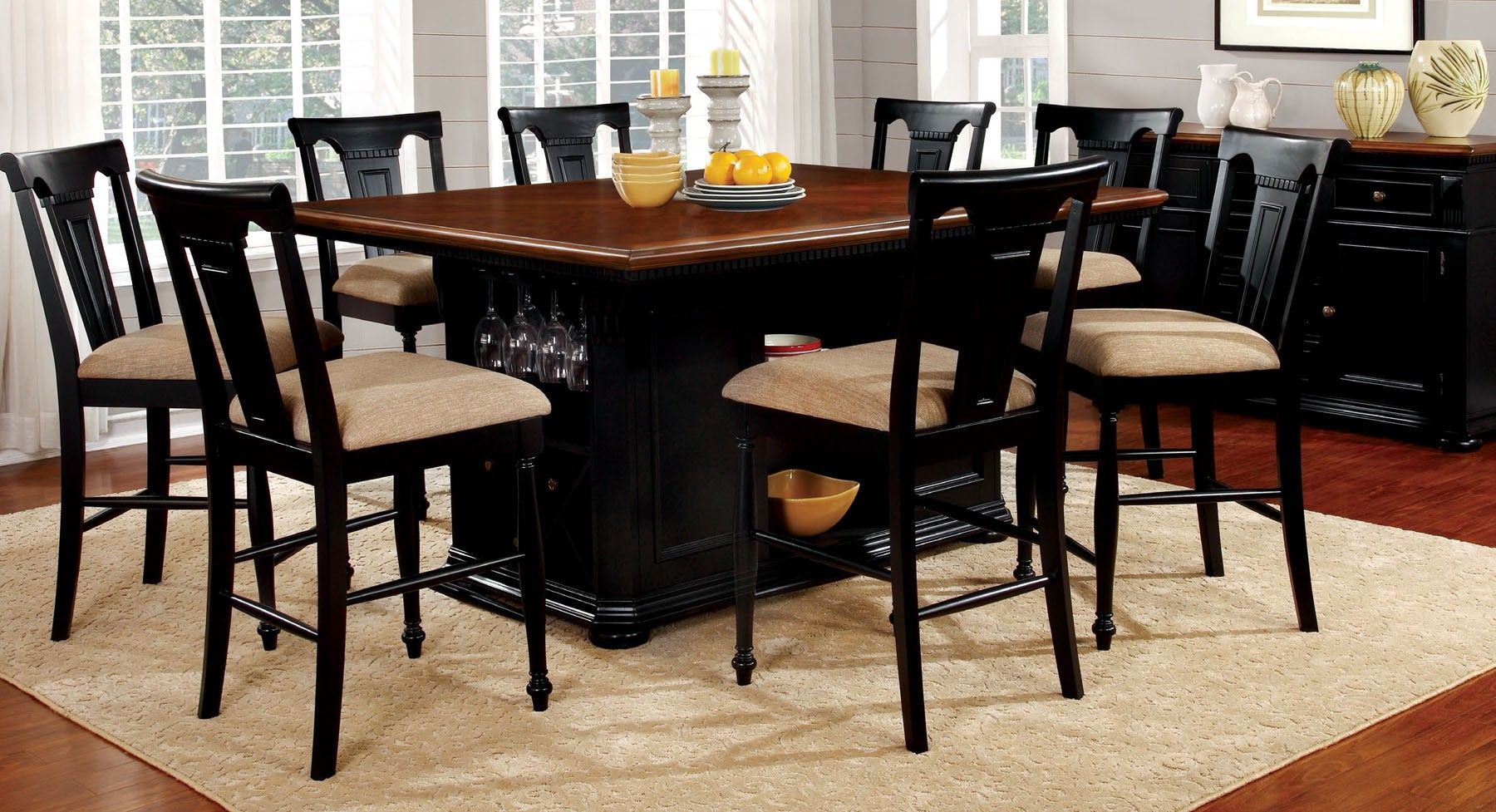 Sabrina Cherry And Black Counter Height Table Cm3199bc Pt By