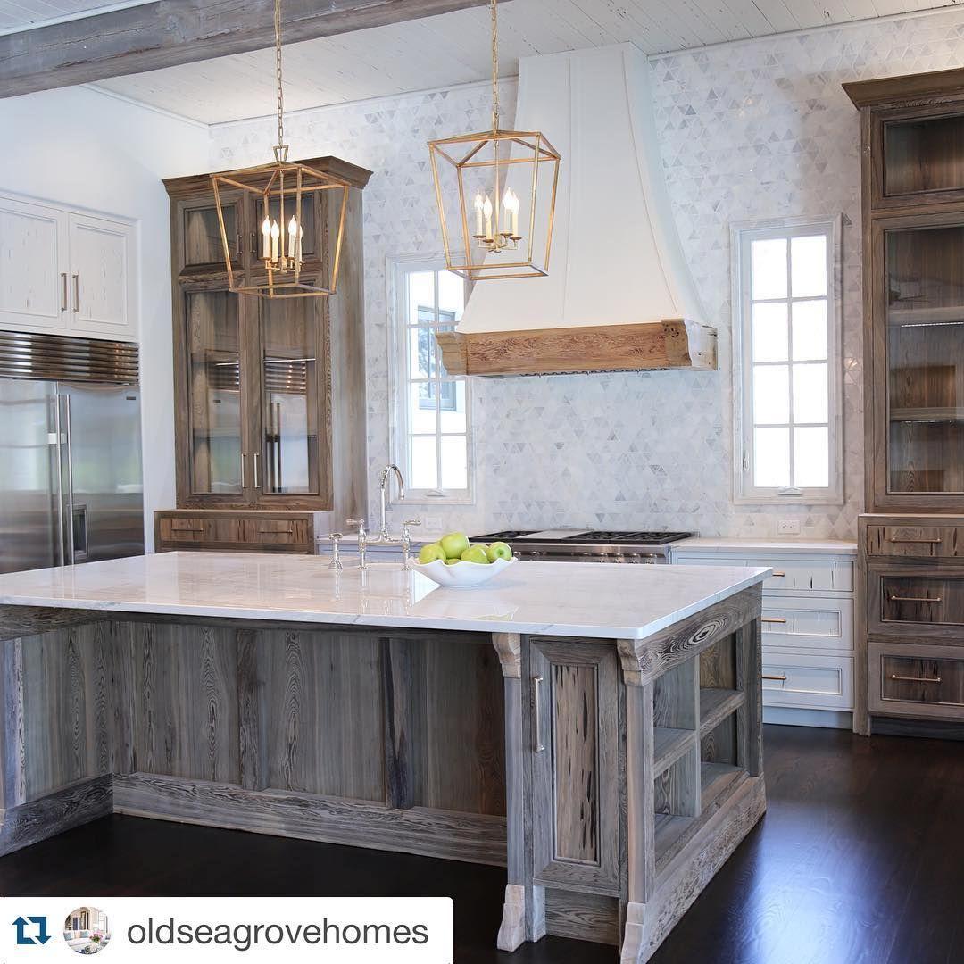 Great looking kitchen by @oldseagrovehomes #chandelierdevelopment ...
