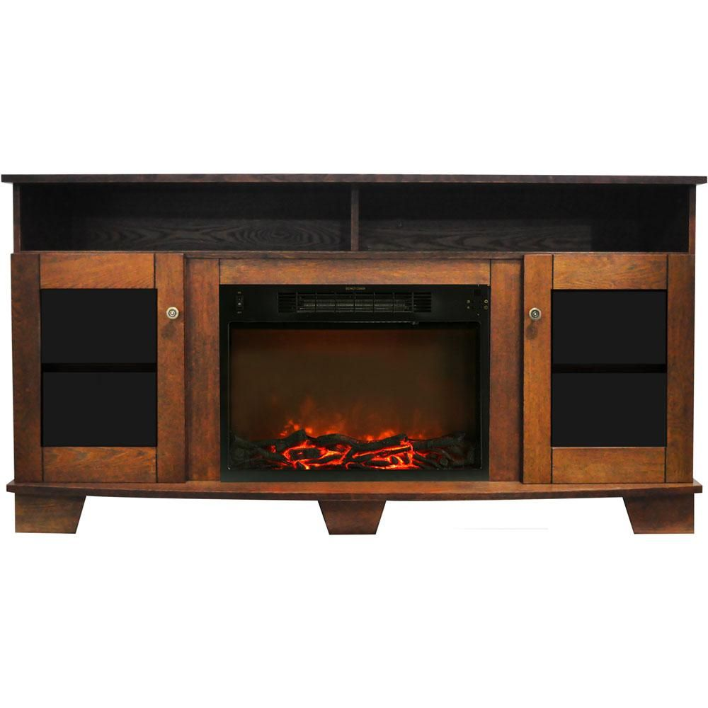 Cambridge Savona 59 In Electric Fireplace In Walnut With