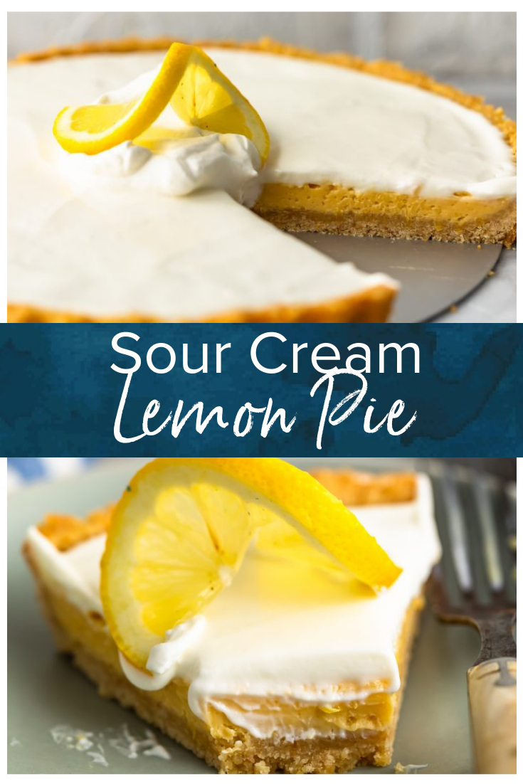 Sour Cream Lemon Pie Is Perfectly Tart And Creamy This Easy Lemon Pie Recipe Is Filled With Lemon Pie Recipe Sour Cream Lemon Pie Recipe Lemon Sour Cream Pie