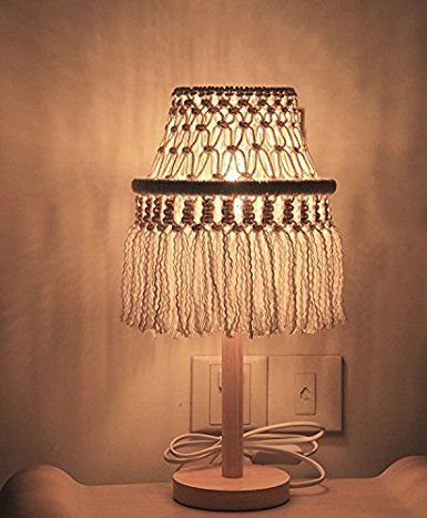 Riseon Boho Chic Bohemia Handmade Macrame Light Shade Geometrical Fringe Led Desk Table Lamp Night Light Home Decor Diy Lamp Shade Lamp Shade Diy Lamp