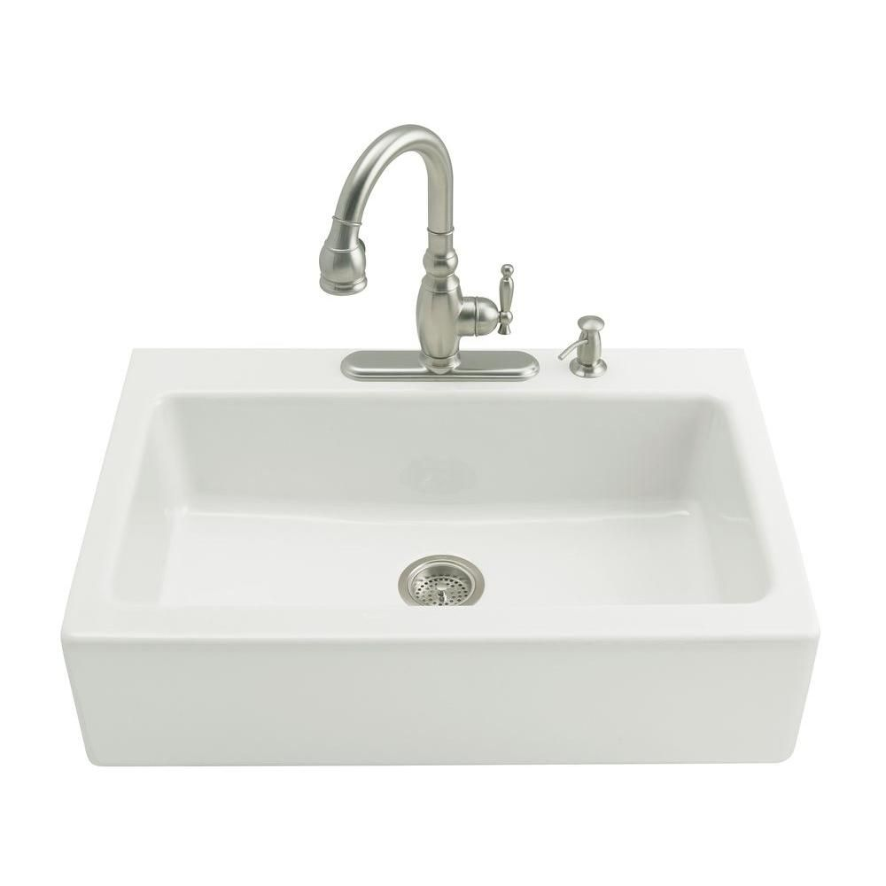 Kohler Dickinson Farmhouse Apron Front Cast Iron 33 In 3 Hole Single Bowl Kitchen Sink In White K 6546 3 0 Cast Iron Kitchen Sinks Single Bowl Kitchen Sink Apron Front Kitchen Sink