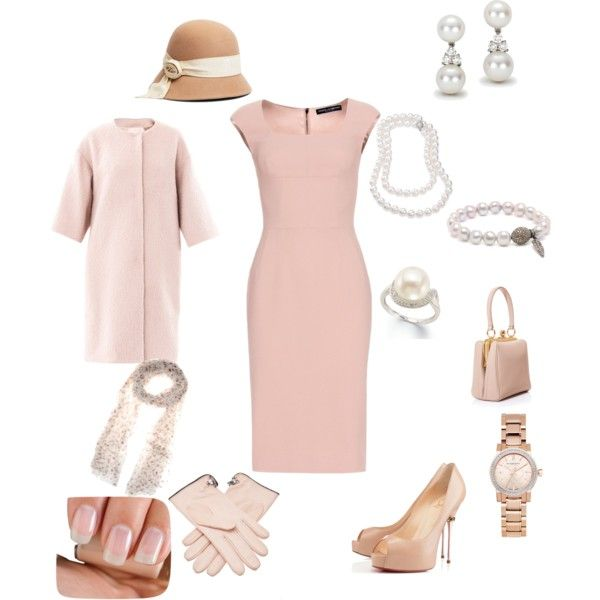Jackie Kennedy inspired Blush Dress, Coat, & Accessories by hshprincessgebevieve on Polyvore featuring mode,…