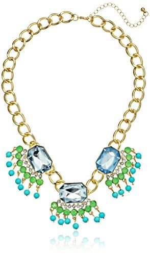 """Gold-Tone and Blue and Green Bead Station Statement Necklace, 16"""" Amazon Collection http://www.amazon.com/dp/B00H5I8FYI/ref=cm_sw_r_pi_dp_XzZevb0VPKC5M"""