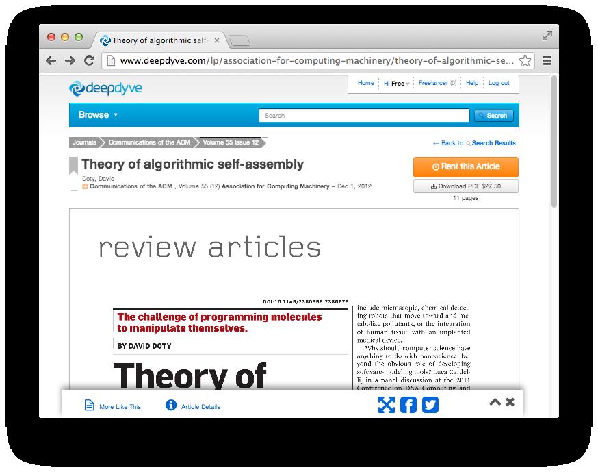 El futuro de las revistas académicas ha llegado: DeepDyve