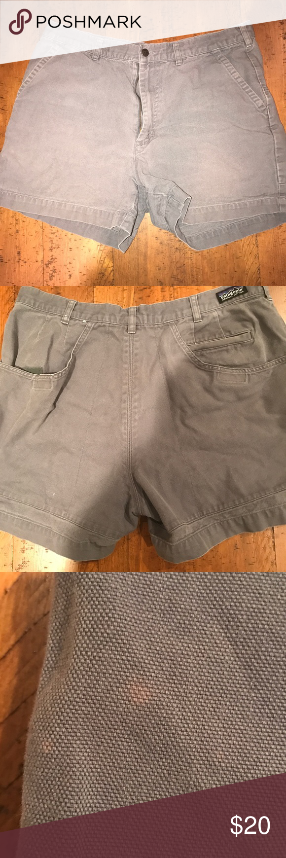 Patagonia Stand Up shorts (36) Gray/Navy standup shorts. 5in inseam. Has one character mark on the outside left of the short. Not noticeable from afar Patagonia Shorts Flat Front