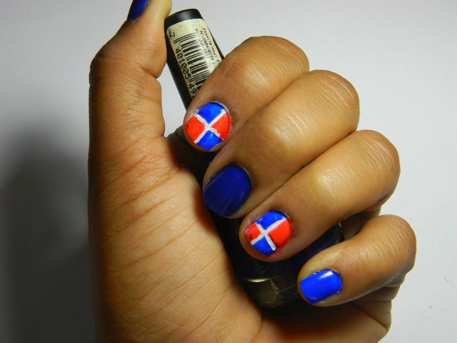 SWEET PINK MAKEUP: Diseño de uña de la Bandera Dominicana | Nail art ...
