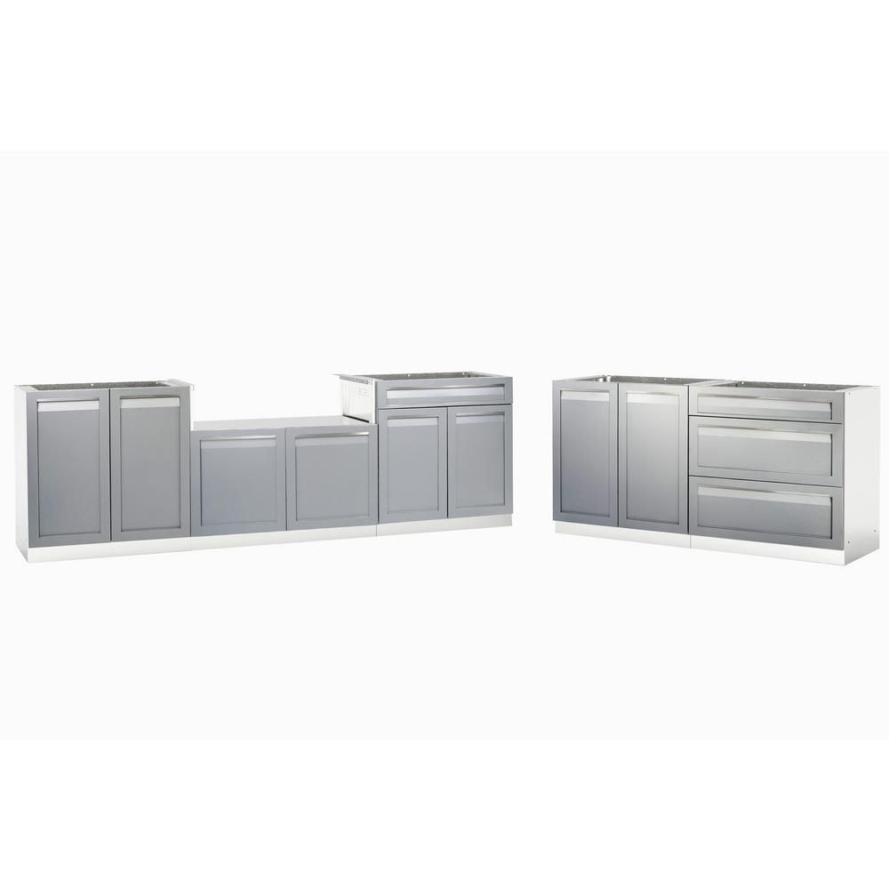 4 Life Outdoor Stainless Steel 5 Piece 168 In W X 36 In H X24 In D Outdoor Kitchen Bbq Cabine Outdoor Kitchen Stainless Steel Doors Stainless Steel Counters