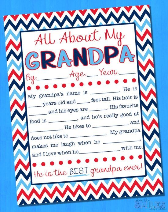 All About My Grandpa Interview with FREE Printable {EIGHT Versions} #grandpabirthdaygifts