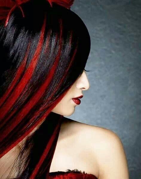 Black With Brite Red Hilites Brunette Hair Color Hair Color For Black Hair Hair Highlights