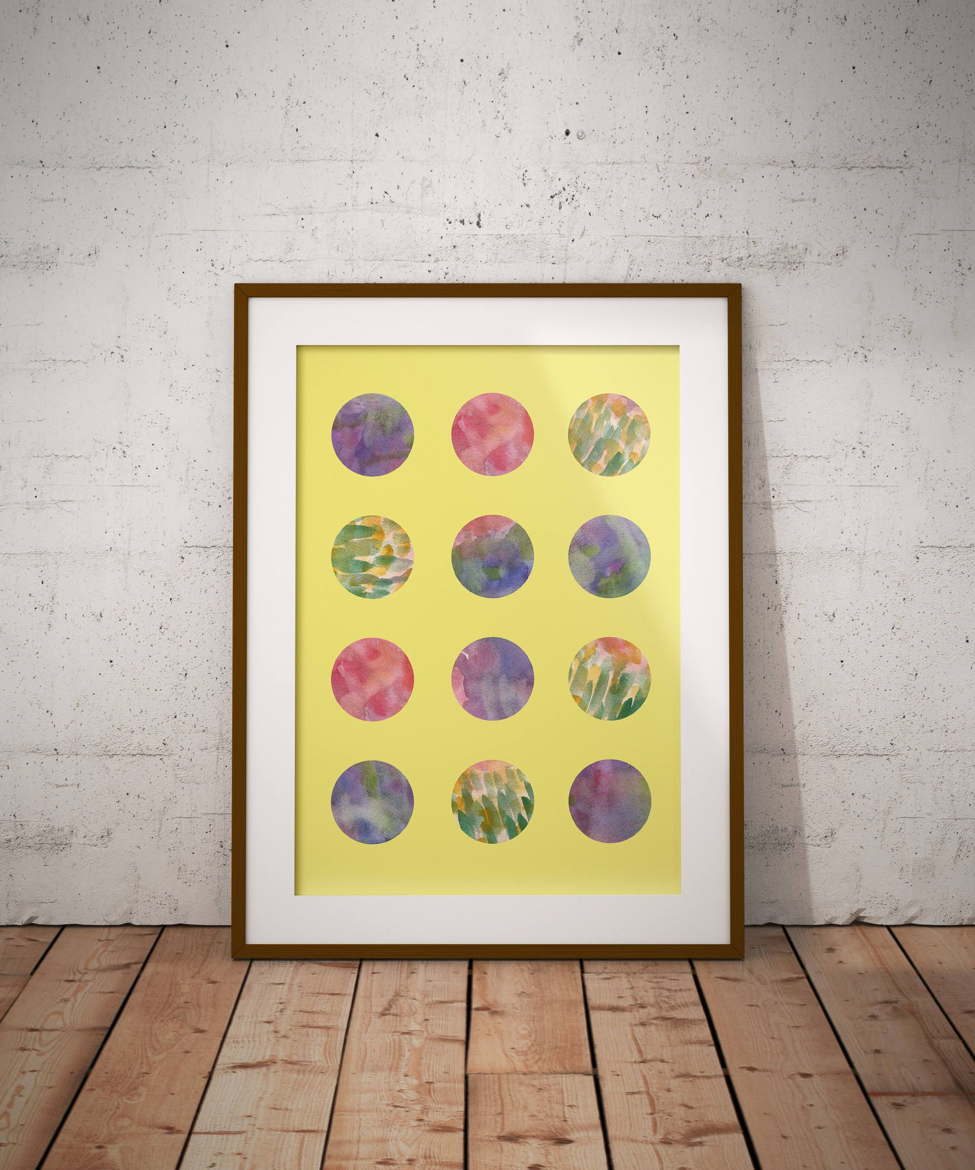 Simply Modern circles watercolor Art Print, Wall Art, Original ...