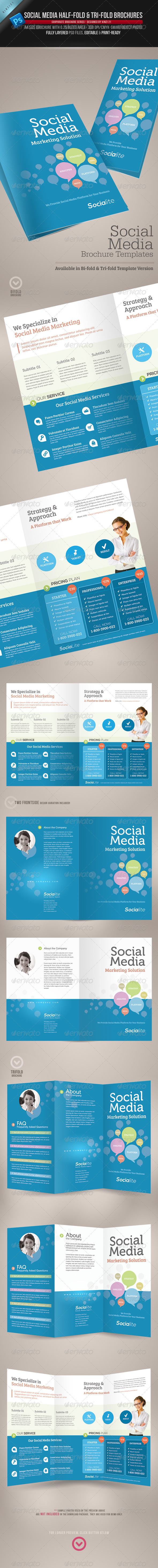 Social Media HalfFold And TriFold Brochures  Tri Fold Brochure
