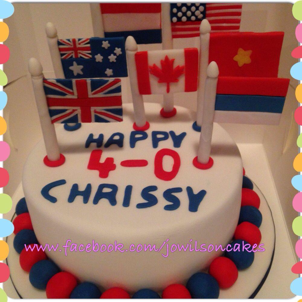 A Flag Themed 40th Birthday Birthday Cake Chocolatemud Russia