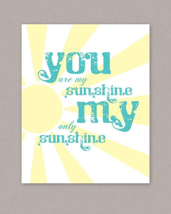 Printable 8x10 You Are My Sunshine Poster Pdf Digital File