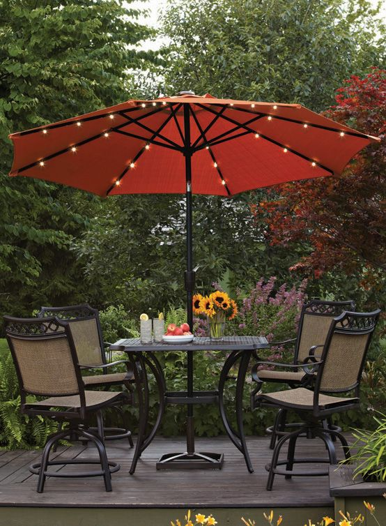 Better Homes Gardens 9 Round Umbrella With Solar Lights Orange Brick Walmart Com Patio Umbrella Lights Patio Umbrellas Backyard Lighting