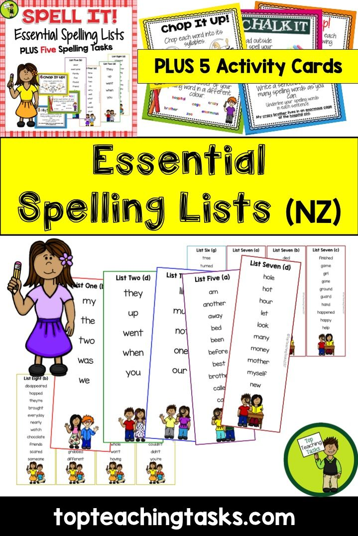 new zealand essential spelling list revision cards plus five activities top teaching tasks. Black Bedroom Furniture Sets. Home Design Ideas