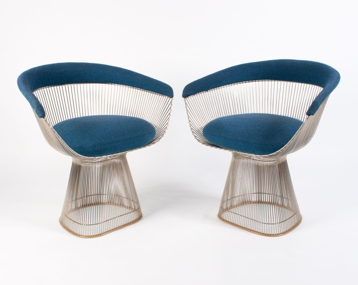 Awe Inspiring 2X Vintage Warren Platner Arm Chair In Blue Wool 1960S Gamerscity Chair Design For Home Gamerscityorg