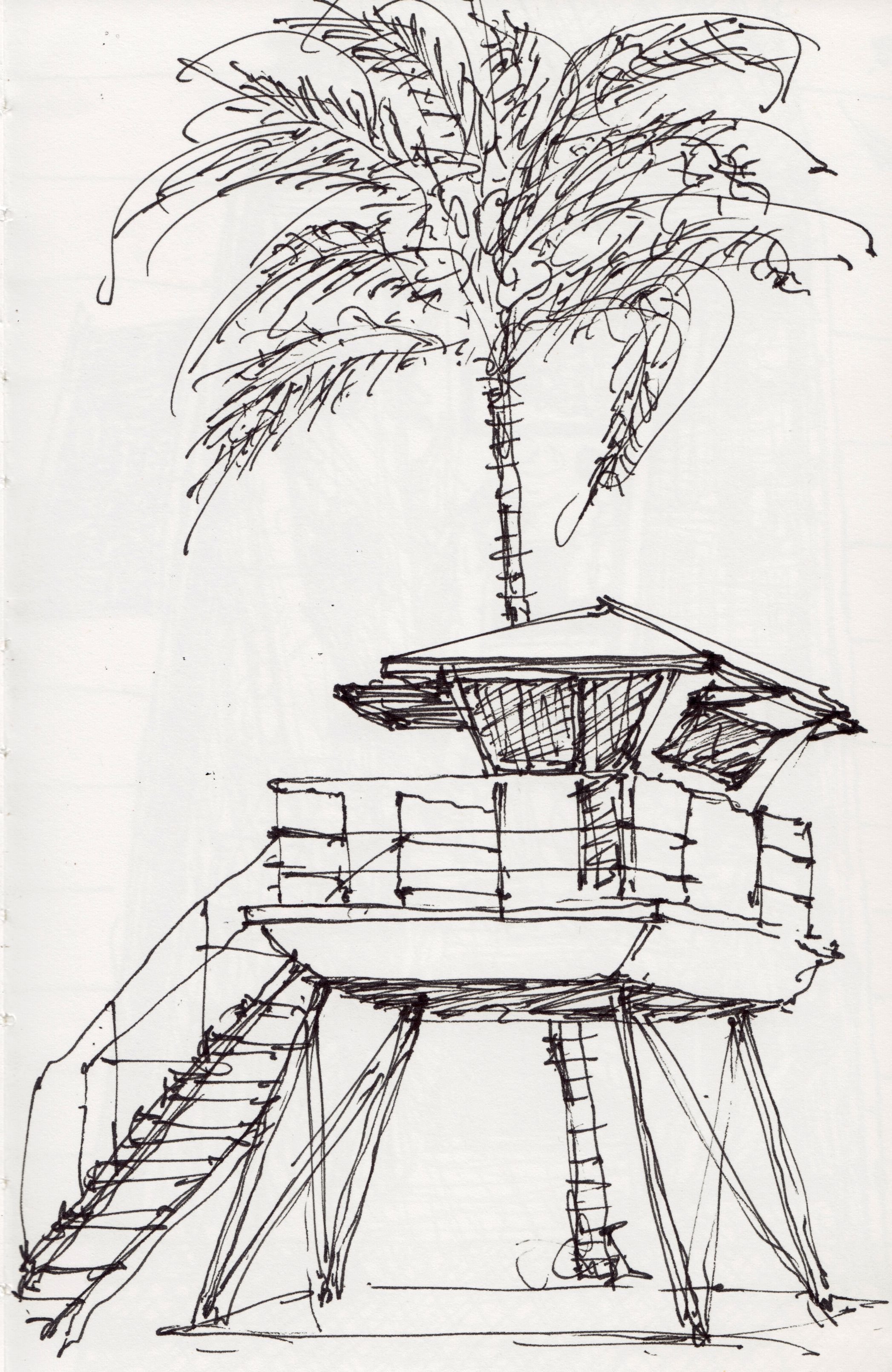 Lifeguard Tower In Hanalei Hawaii Sketchbook DrawingsHanalei HawaiiLifeguardBeach WavesPencil
