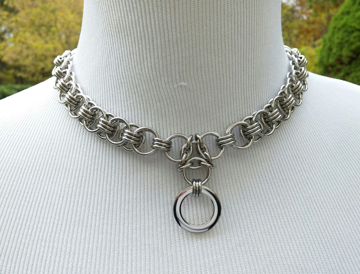 heavy duty chainmaille double o ring choker - stainless steel