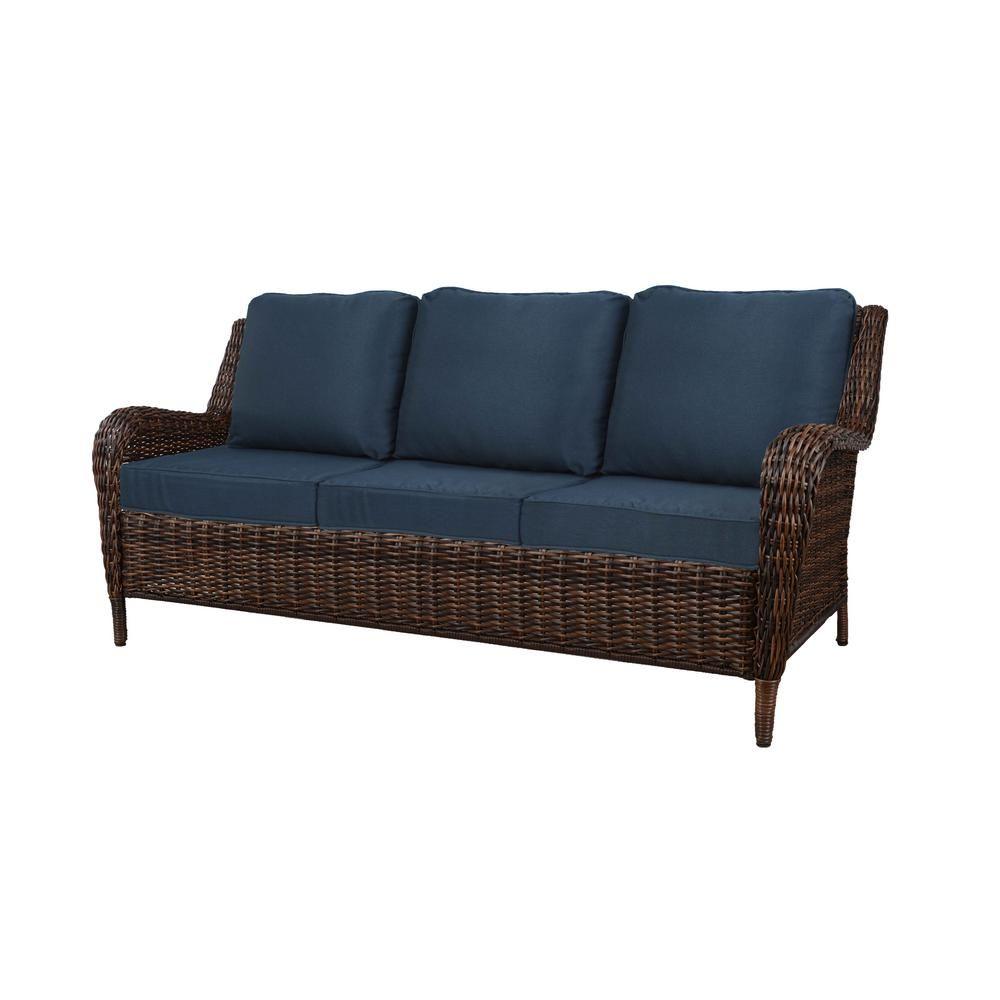 Awe Inspiring Hampton Bay Cambridge Brown Wicker Outdoor Patio Sofa With Bralicious Painted Fabric Chair Ideas Braliciousco