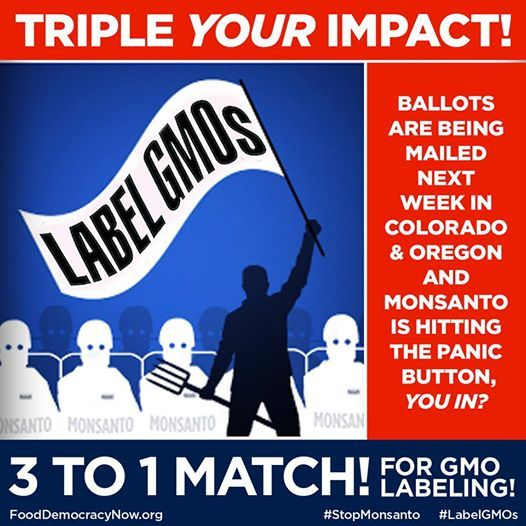 URGENT Deadline Extended through TONIGHT (Tuesday 10/14) at Midnight! Donate here: http://bit.ly/1snucnP Wednesday morning will be our last chance to wire money to labeling efforts, as ballots are being mailed out. Chip in today to make sure we hit our goal of raising $75,000! http://bit.ly/1snucnP #GMOs #LabelGMOs #food #righttoknow #yeson92 #yeson105 Oregon Right To Know Right To Know Colorado - GMO