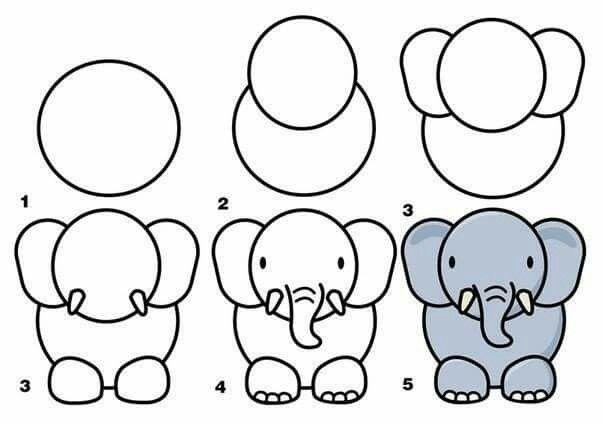 Elefante. | Dibujando en 2018 | Pinterest | Dibujos, Cómo dibujar y ...