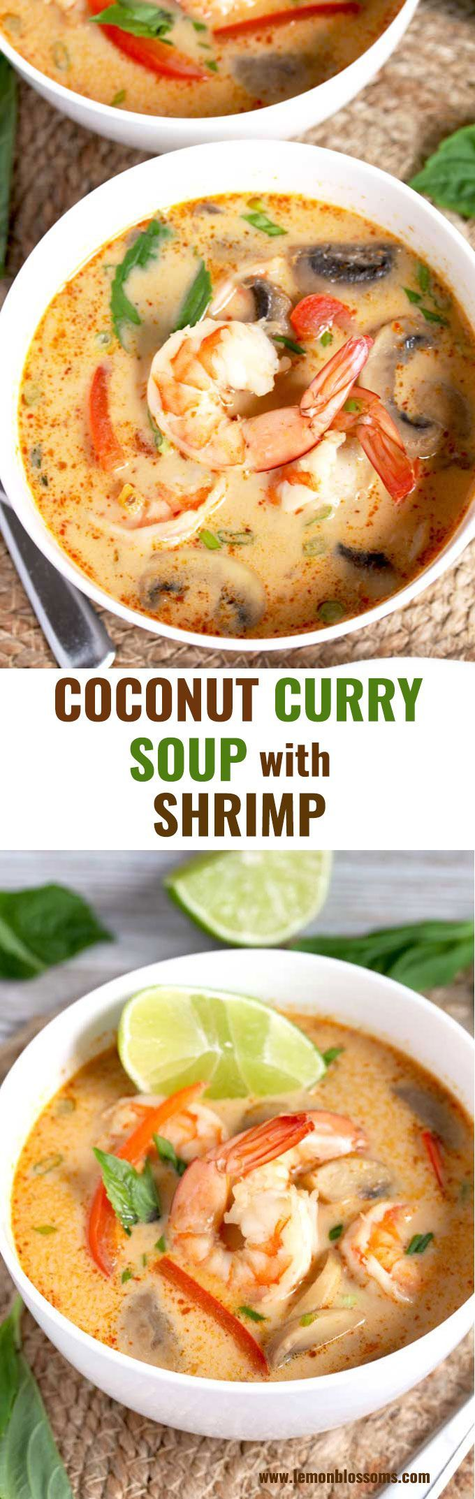 This Coconut Curry Soup is infused with ginger, garlic, red curry paste and coconut milk. Loaded with succulent shrimp and vegetables, this tasty Thai soup is easy to make and ready in under 30 minutes! #soup #Thai #easy #shrimp #comfortfood #recipe #FreakyFridayRecipe #seafooddishes