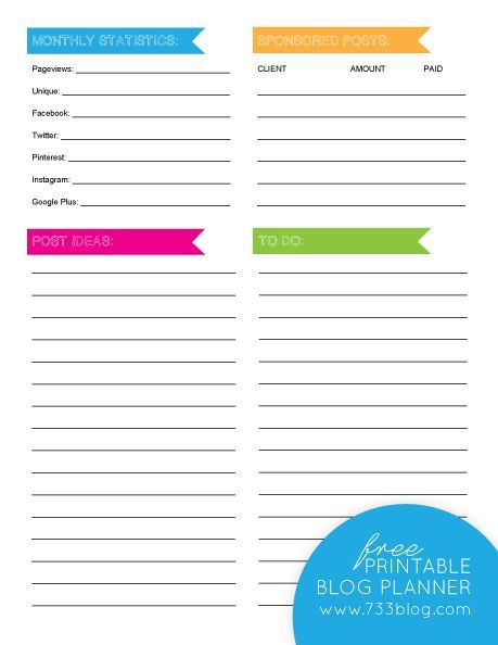Free Monthly Blog Planner Blog planner - printable expense report