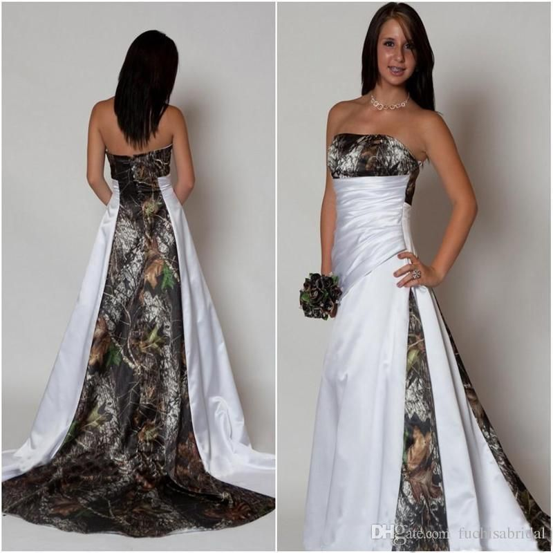 Strapless Camo Wedding Dresses With Pleated Waist A Line