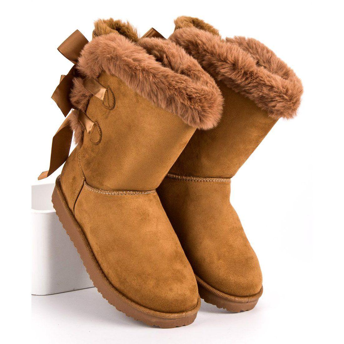 Wysokie Mukluki Z Kokardkami Brazowe Ugg Boots Uggs Boots