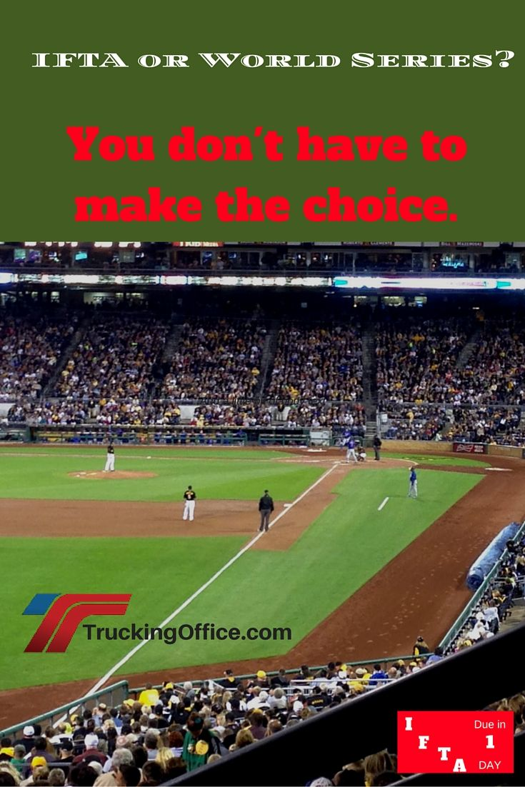 Watching the worldseries or working on your IFTA?