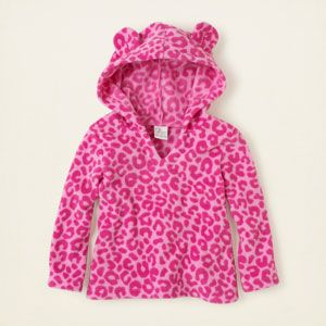 baby girl - long sleeve tops - leopard fleece pullover hoodie ...